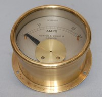 Image of NEWTON AND WRIGHT BRASS AMPMETER, 1930's