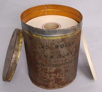Image of TIN CONTAINING ROLLS  OF GUMMED TAPE, 1950's