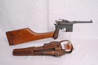 Image of WWII MAUSER C96 WITH STOCK AND LEATHER HOLSTER