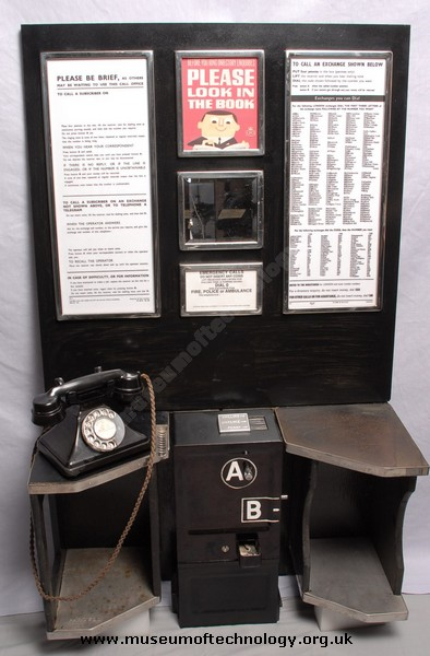 A &  B KIOSK BOX  BACK BOARD AND TELEPHONE, 1940's