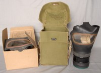 Image of WWII ADULT CIVILIAN GAS MASK (RESPIRATOR) WITH CANVAS BAG AND BOX, 1941
