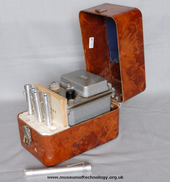 RUSSIAN POCKET DOSIMETER AND CHARGER, 1950's