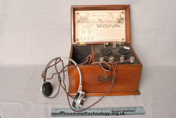 REVOPHONE CRYSTAL SET AND HEADPHONES, 1923