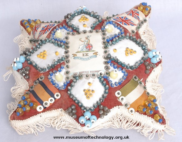 SWEETHEART PIN CUSHION 9TH NORFOLK REGIMENT